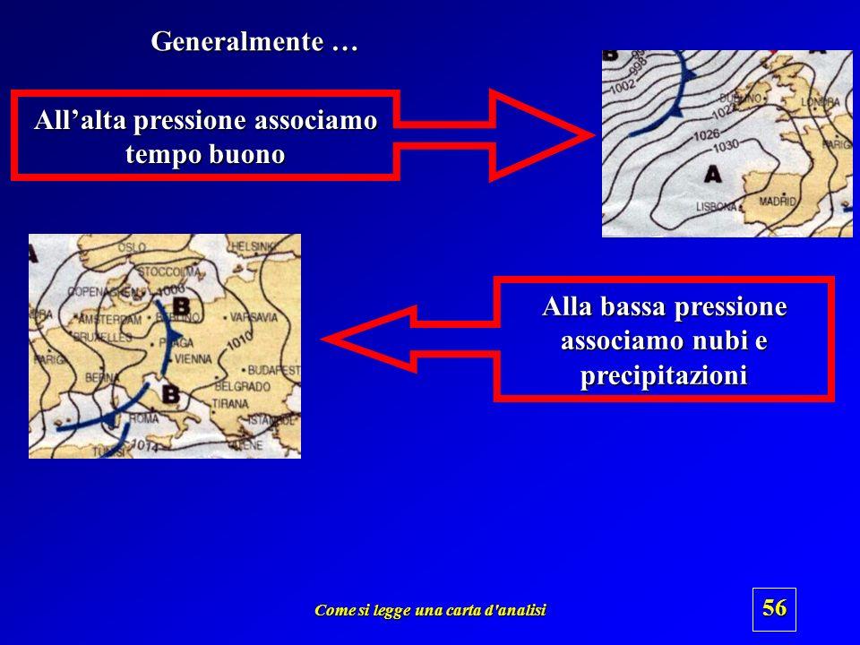 Come si legge una carta d'analisi 55 Modello semplificato di circolazione atmosferica Alta pressione Bassa pressione