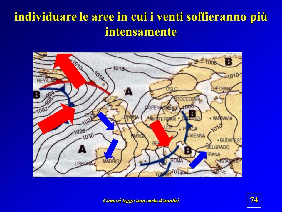 Come si legge una carta d'analisi 73 capire la direzione prevalente dei venti Circolazione ciclonica Circolazione anticiclonica