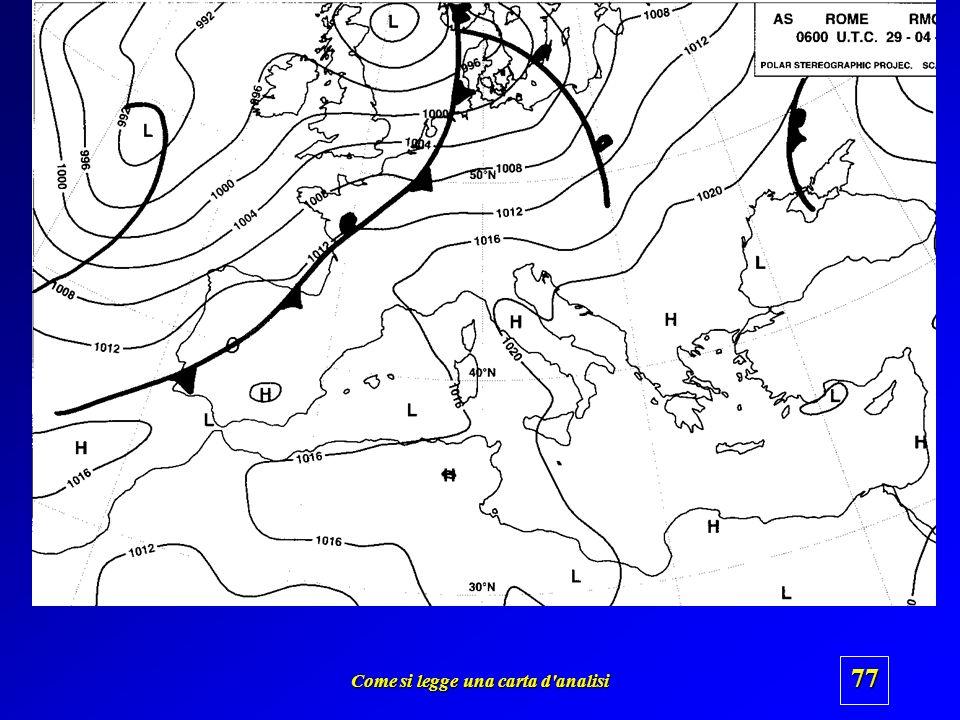 Come si legge una carta d'analisi 76 isobara Bassa pressione Alta pressione Fronte freddo Fronte caldo