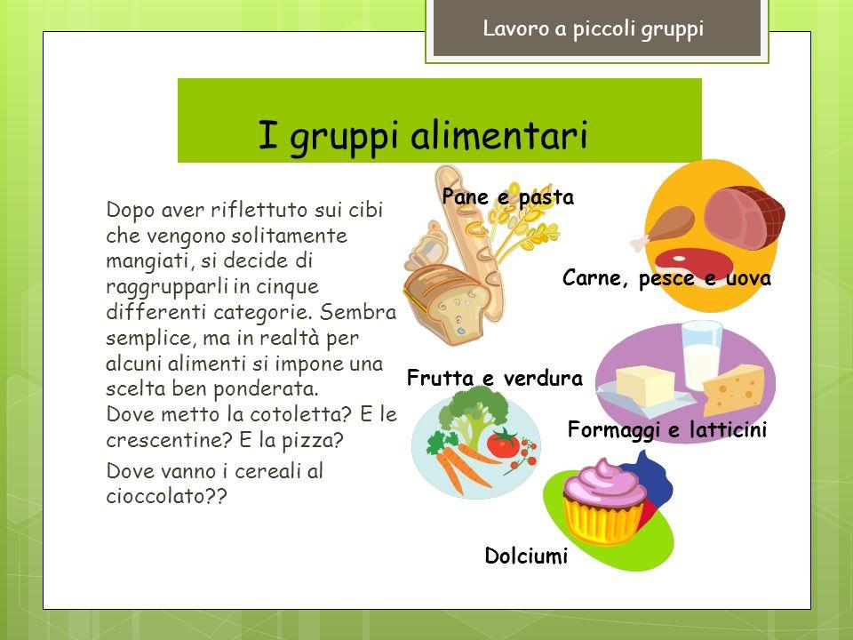 I gruppi alimentariiI Dopo aver riflettuto sui cibi che vengono solitamente mangiati, si decide di raggrupparli in cinque differenti categorie.