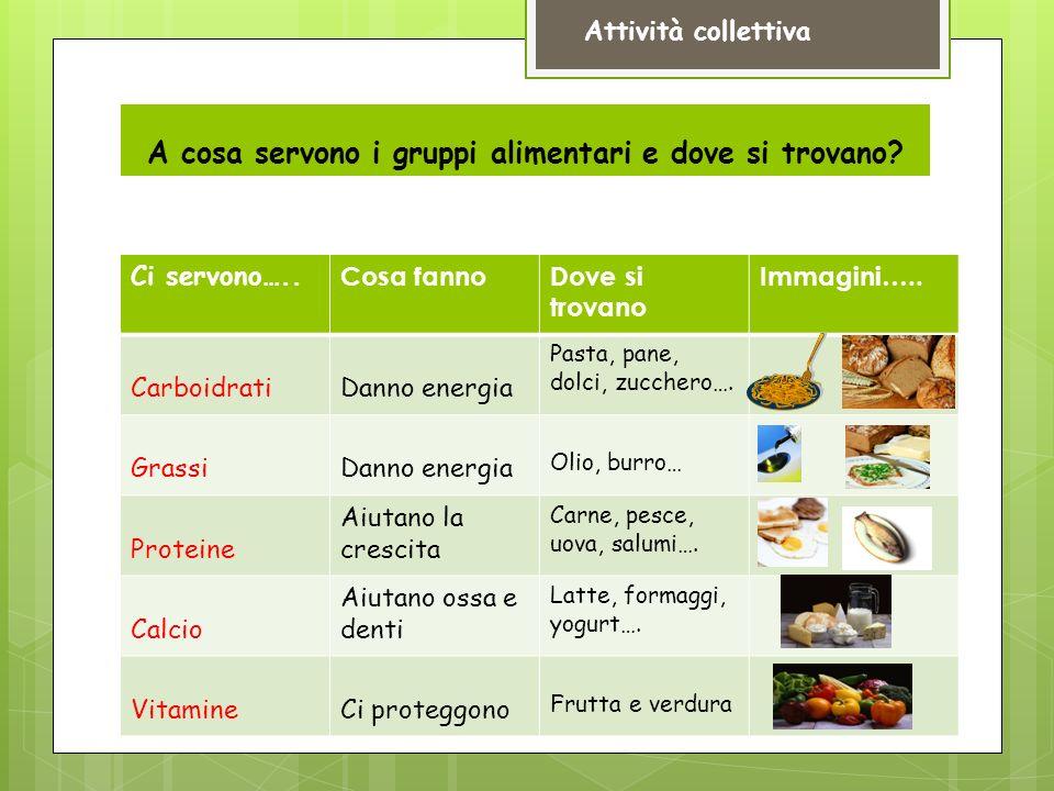 A cosa servono i gruppi alimentari e dove si trovano.