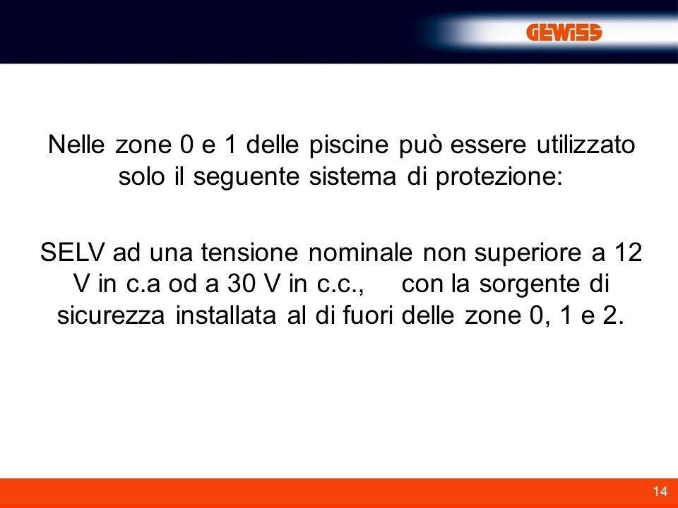 14 Nelle zone 0 e 1 delle piscine può essere utilizzato solo il seguente sistema di protezione: SELV ad una tensione nominale non superiore a 12 V in