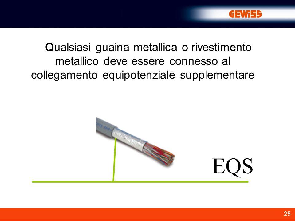 25 Qualsiasi guaina metallica o rivestimento metallico deve essere connesso al collegamento equipotenziale supplementare EQS