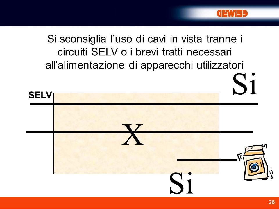 26 Si sconsiglia luso di cavi in vista tranne i circuiti SELV o i brevi tratti necessari allalimentazione di apparecchi utilizzatori SELV X Si