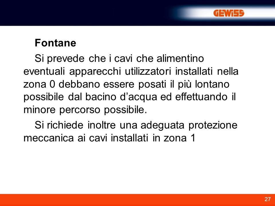 27 Fontane Si prevede che i cavi che alimentino eventuali apparecchi utilizzatori installati nella zona 0 debbano essere posati il più lontano possibi