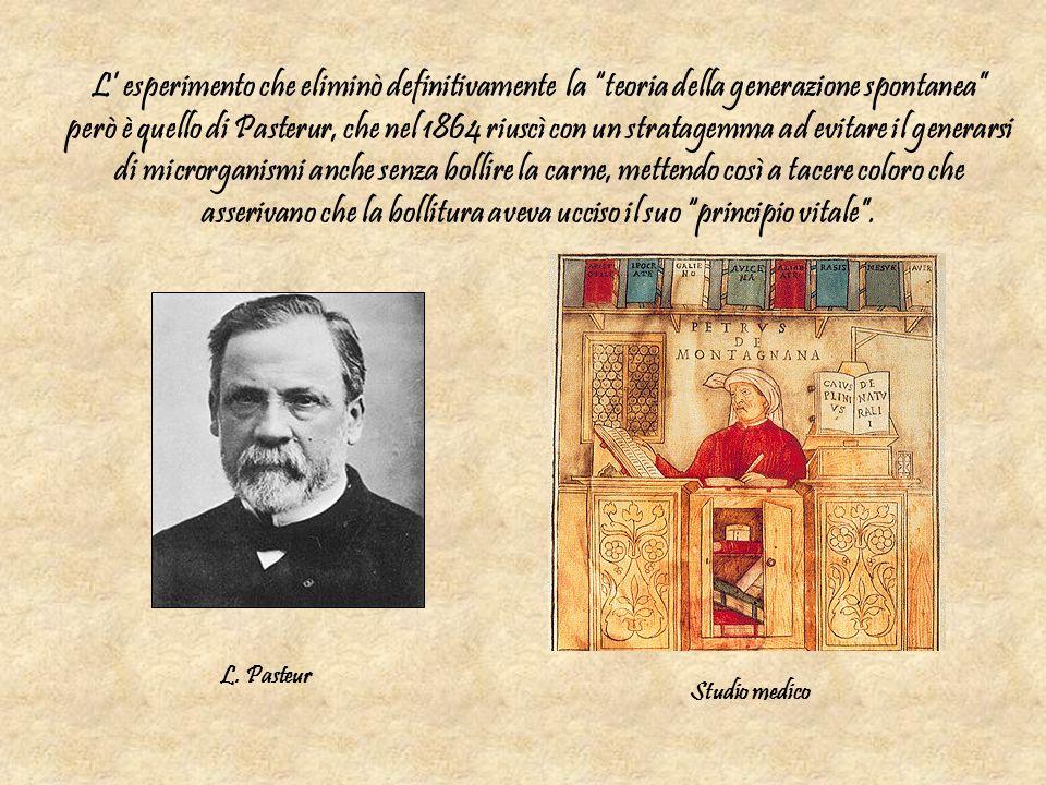 L esperimento che eliminò definitivamente la teoria della generazione spontanea però è quello di Pasterur, che nel 1864 riuscì con un stratagemma ad e