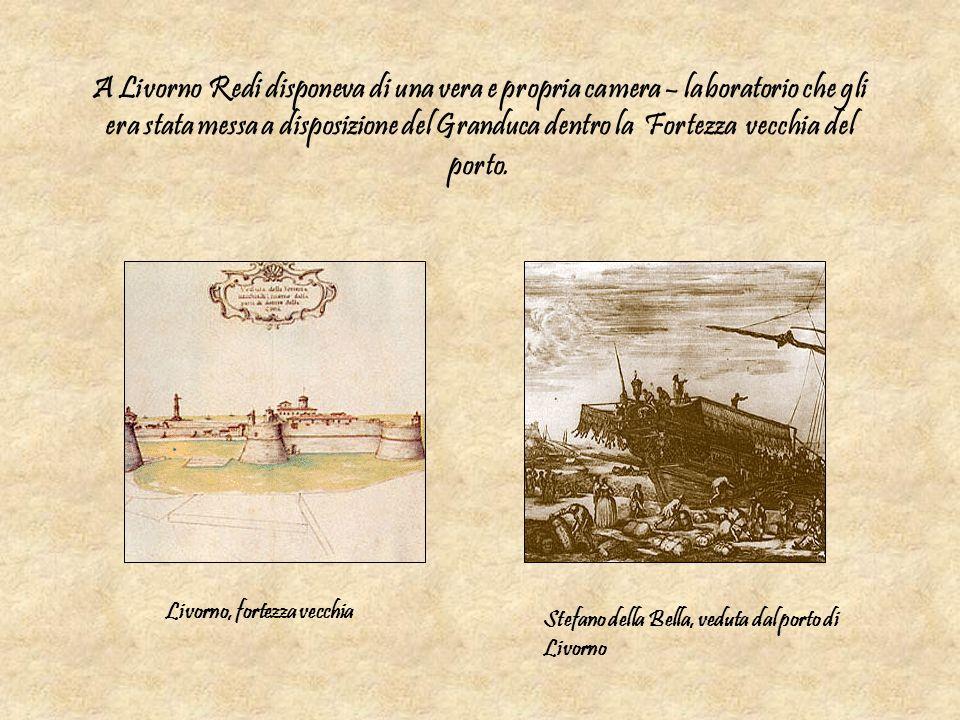 A Livorno Redi disponeva di una vera e propria camera – laboratorio che gli era stata messa a disposizione del Granduca dentro la Fortezza vecchia del