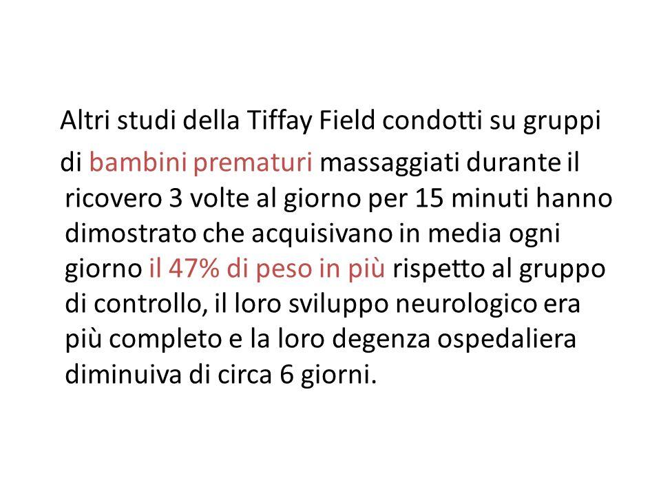 Altri studi della Tiffay Field condotti su gruppi di bambini prematuri massaggiati durante il ricovero 3 volte al giorno per 15 minuti hanno dimostrat