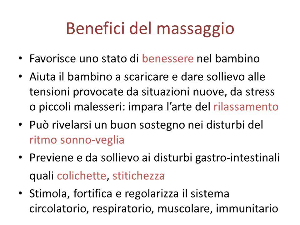Benefici del massaggio Favorisce uno stato di benessere nel bambino Aiuta il bambino a scaricare e dare sollievo alle tensioni provocate da situazioni