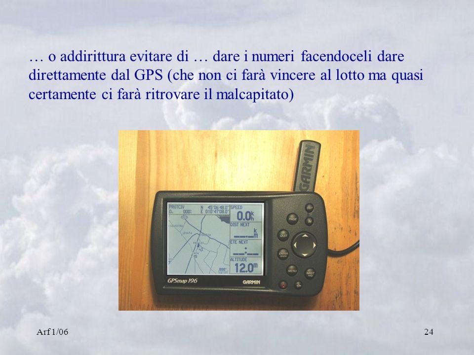 Arf 1/0624 … o addirittura evitare di … dare i numeri facendoceli dare direttamente dal GPS (che non ci farà vincere al lotto ma quasi certamente ci f