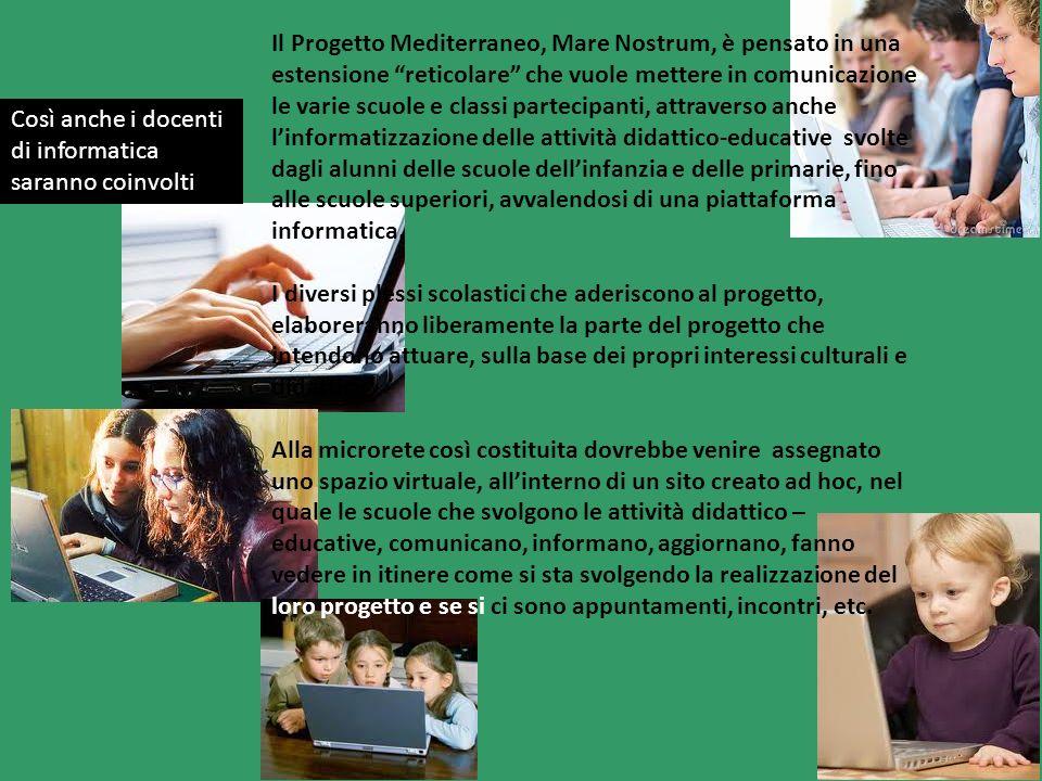 Il Progetto Mediterraneo, Mare Nostrum, è pensato in una estensione reticolare che vuole mettere in comunicazione le varie scuole e classi partecipant