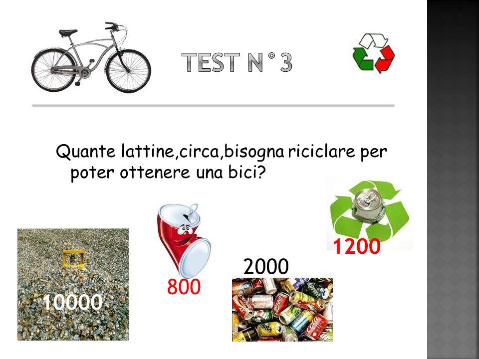 Quante lattine,circa,bisogna riciclare per poter ottenere una bici? 1200 2000 10000 800