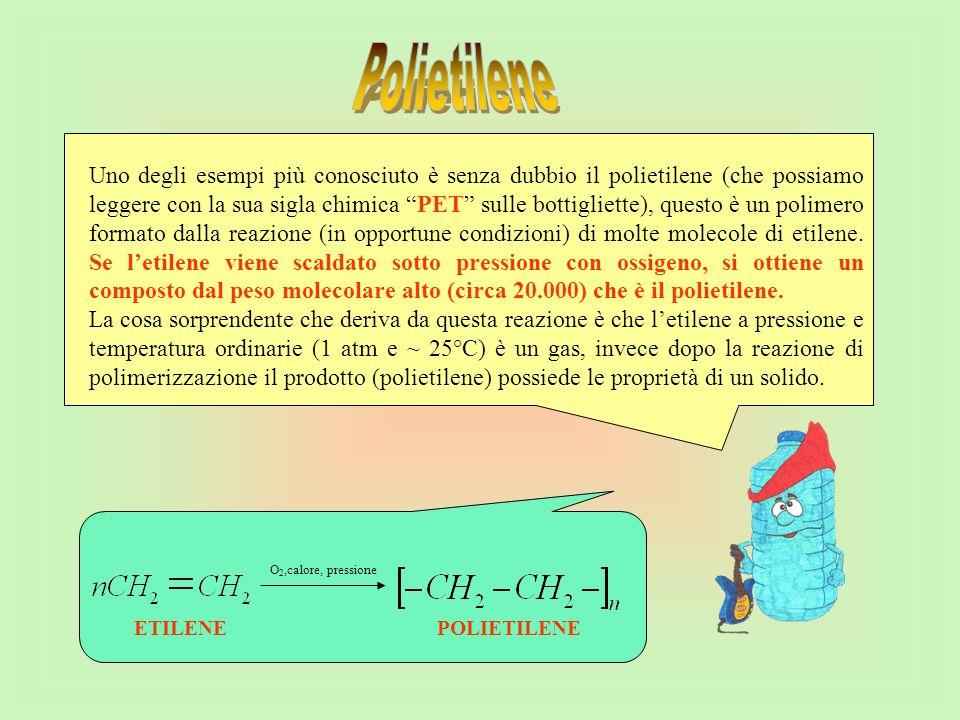 Uno degli esempi più conosciuto è senza dubbio il polietilene (che possiamo leggere con la sua sigla chimica PET sulle bottigliette), questo è un poli