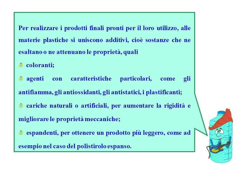Per realizzare i prodotti finali pronti per il loro utilizzo, alle materie plastiche si uniscono additivi, cioè sostanze che ne esaltano o ne attenuan
