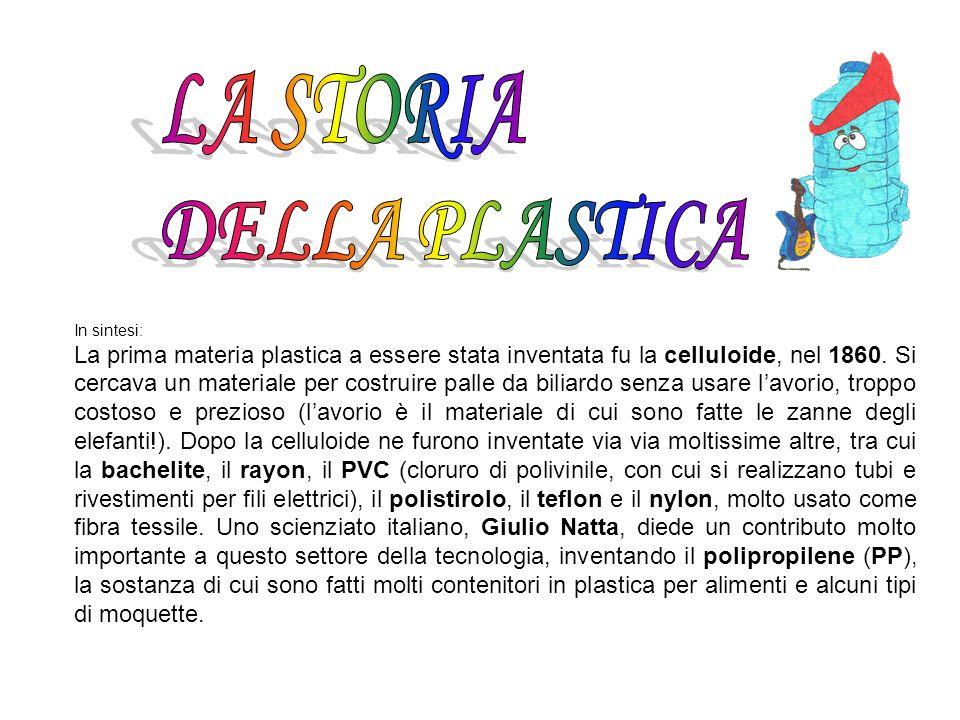In sintesi: La prima materia plastica a essere stata inventata fu la celluloide, nel 1860. Si cercava un materiale per costruire palle da biliardo sen