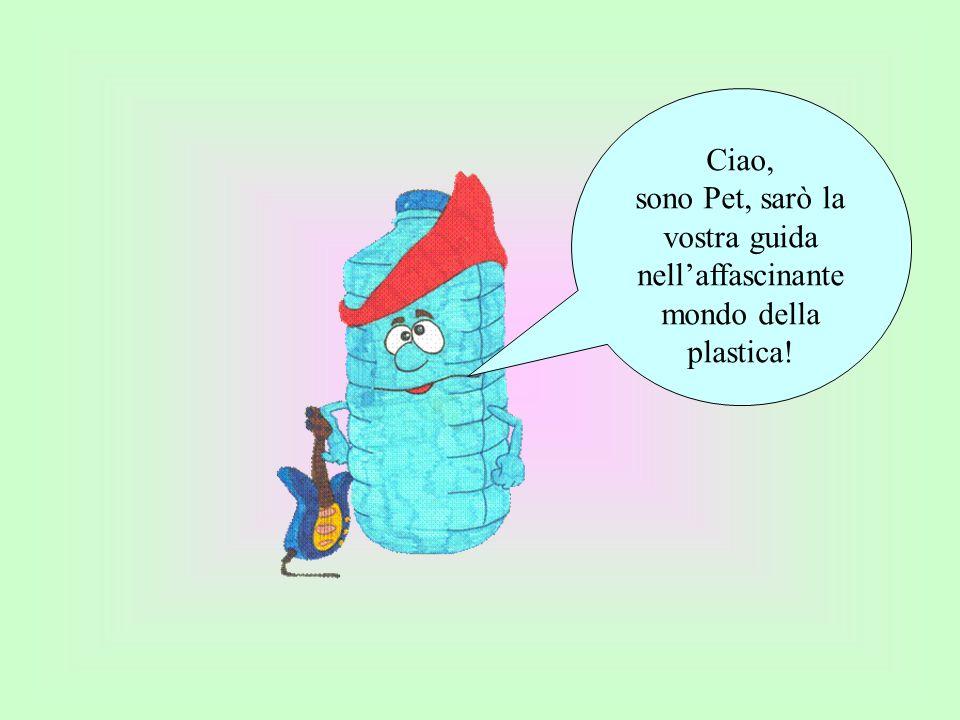 Ciao, sono Pet, sarò la vostra guida nellaffascinante mondo della plastica!