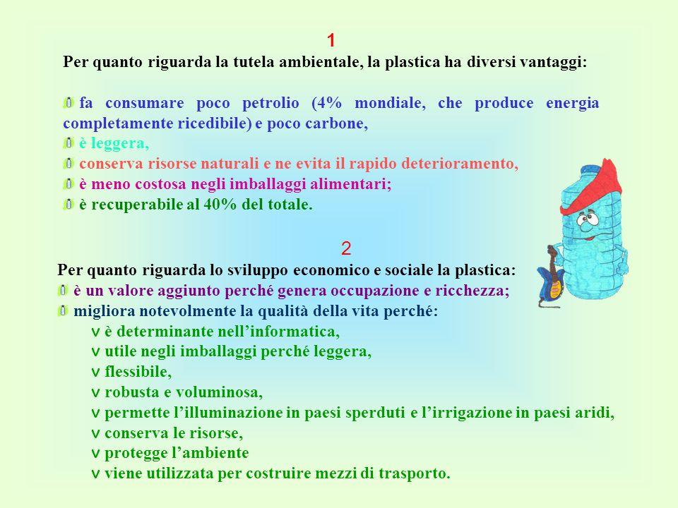 2 Per quanto riguarda lo sviluppo economico e sociale la plastica: è un valore aggiunto perché genera occupazione e ricchezza; migliora notevolmente l
