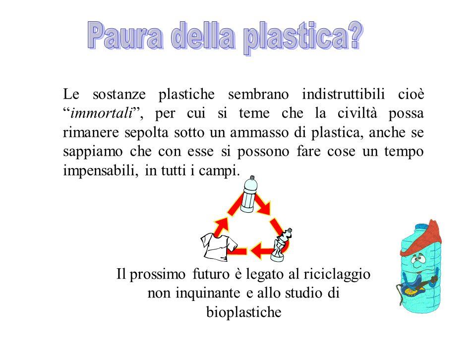 Le sostanze plastiche sembrano indistruttibili cioèimmortali, per cui si teme che la civiltà possa rimanere sepolta sotto un ammasso di plastica, anch