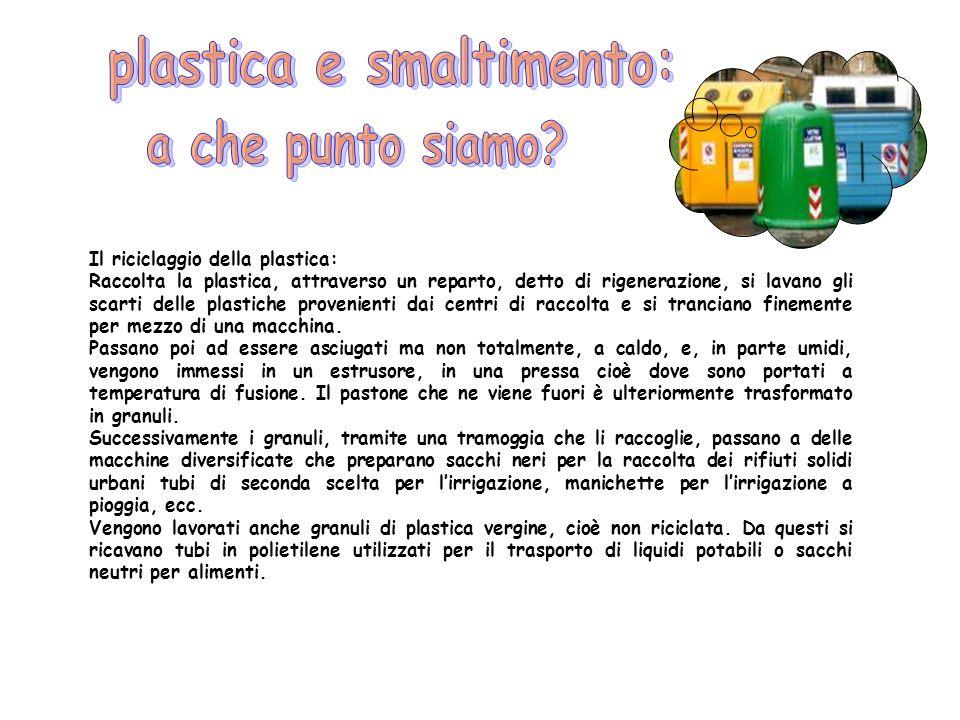 Il riciclaggio della plastica: Raccolta la plastica, attraverso un reparto, detto di rigenerazione, si lavano gli scarti delle plastiche provenienti d