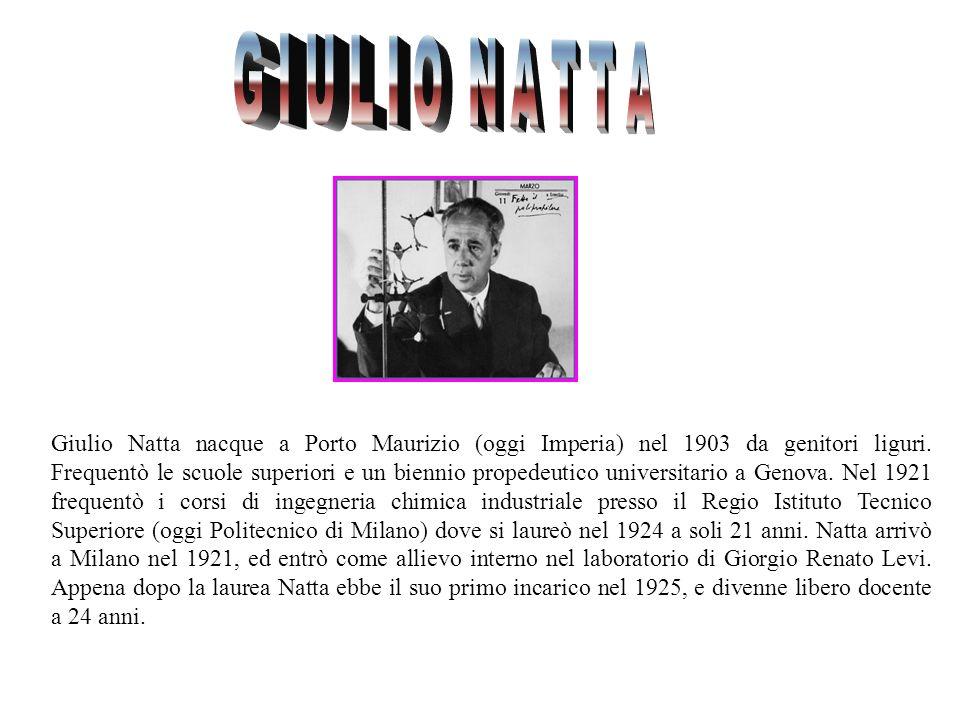 Giulio Natta nacque a Porto Maurizio (oggi Imperia) nel 1903 da genitori liguri. Frequentò le scuole superiori e un biennio propedeutico universitario