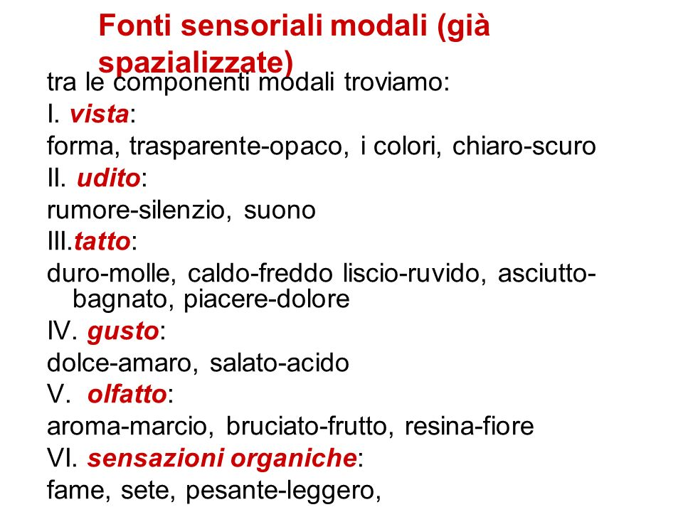 Fonti sensoriali modali (già spazializzate) tra le componenti modali troviamo: I. vista: forma, trasparente-opaco, i colori, chiaro-scuro II. udito: r