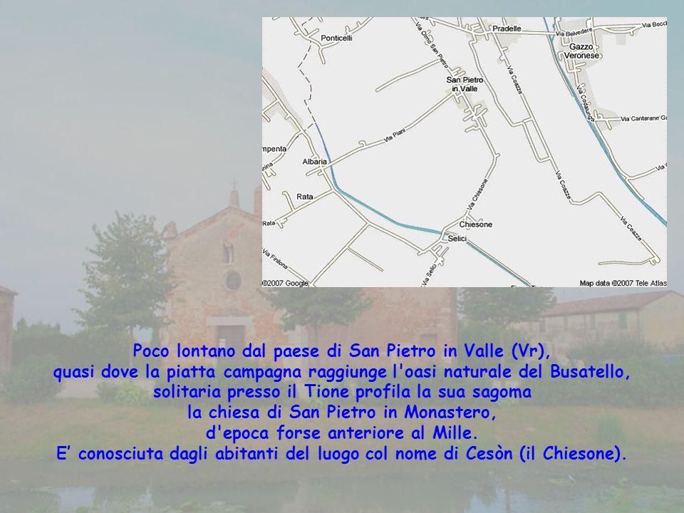 Poco lontano dal paese di San Pietro in Valle (Vr), quasi dove la piatta campagna raggiunge l oasi naturale del Busatello, solitaria presso il Tione profila la sua sagoma la chiesa di San Pietro in Monastero, d epoca forse anteriore al Mille.