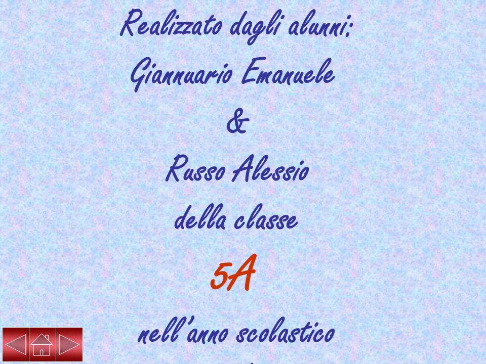 Realizzato dagli alunni: Giannuario Emanuele & Russo Alessio della classe 5A nellanno scolastico 2006/2007 Insegnanti: Galantini Maria Rosaria Giuva A