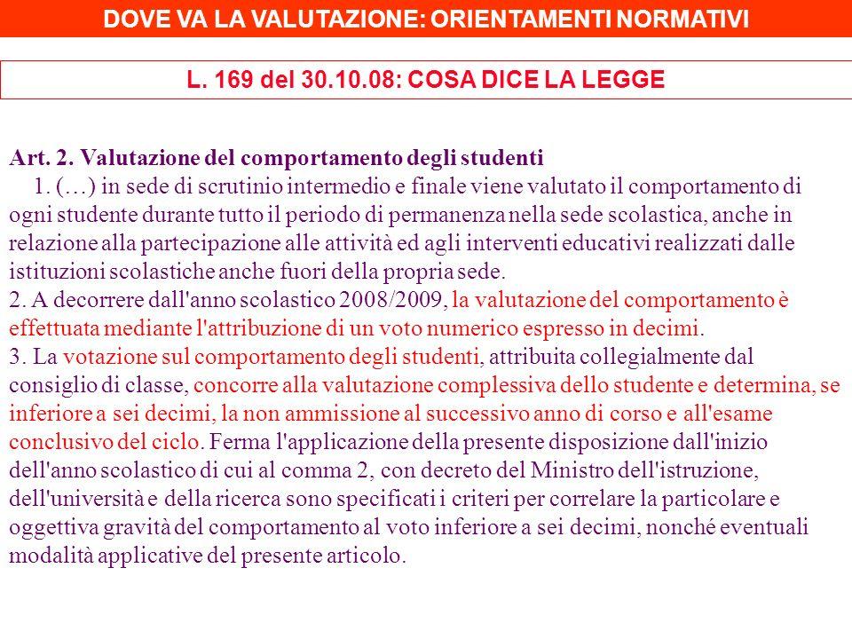 Art. 2. Valutazione del comportamento degli studenti 1. (…) in sede di scrutinio intermedio e finale viene valutato il comportamento di ogni studente