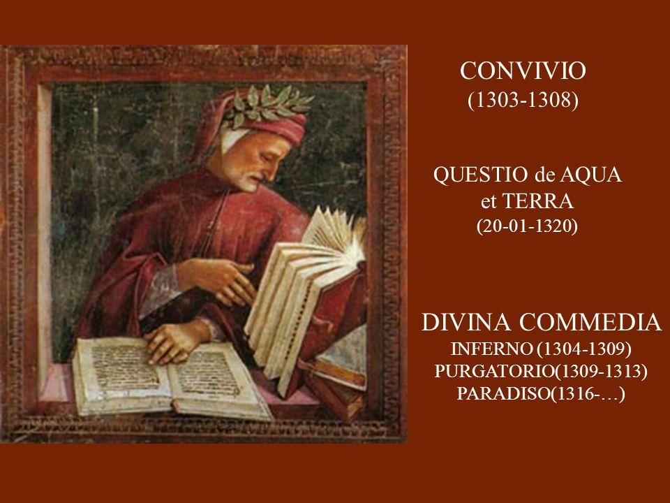 CONVIVIO (1303-1308) QUESTIO de AQUA et TERRA (20-01-1320) DIVINA COMMEDIA INFERNO (1304-1309) PURGATORIO(1309-1313) PARADISO(1316-…)