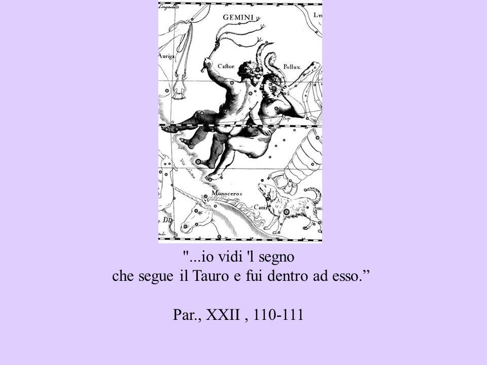 ...io vidi l segno che segue il Tauro e fui dentro ad esso. Par., XXII, 110-111