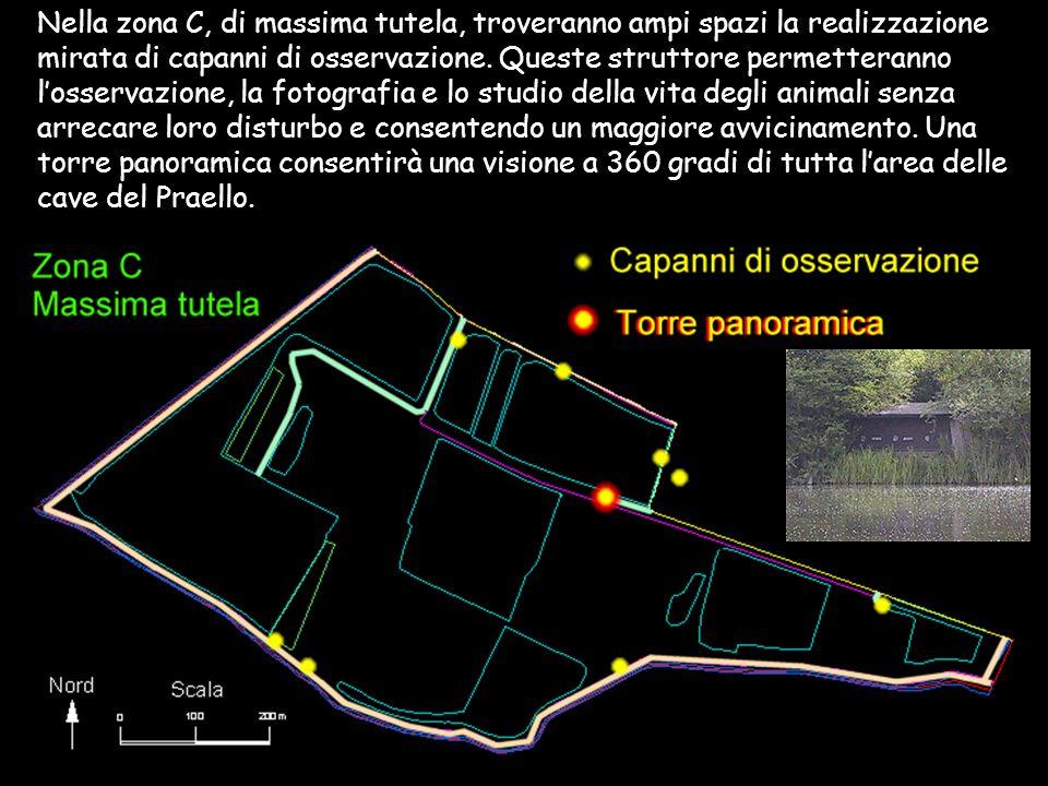 Nella zona C, di massima tutela, troveranno ampi spazi la realizzazione mirata di capanni di osservazione. Queste struttore permetteranno losservazion