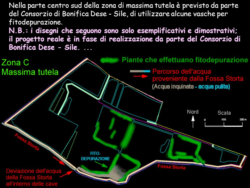 Nella parte centro sud della zona di massima tutela è previsto da parte del Consorzio di Bonifica Dese - Sile, di utilizzare alcune vasche per fitodep