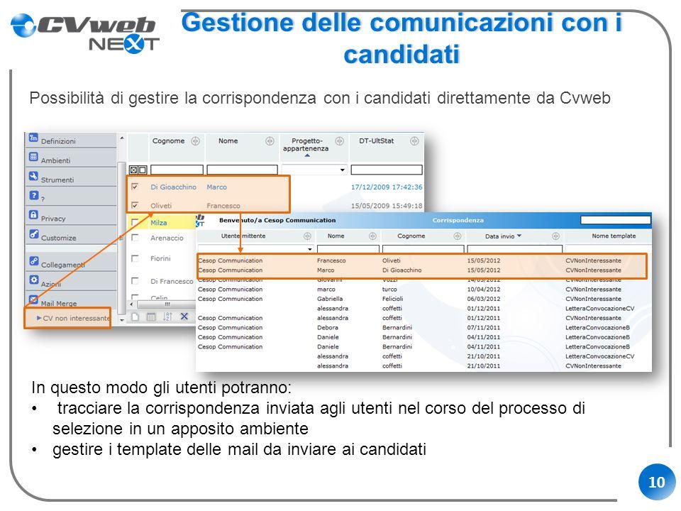 10 Gestione delle comunicazioni con i candidati Possibilità di gestire la corrispondenza con i candidati direttamente da Cvweb In questo modo gli uten