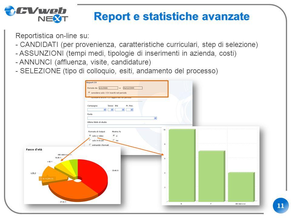 11 Report e statistiche avanzateReport e statistiche avanzate Reportistica on-line su: - CANDIDATI (per provenienza, caratteristiche curriculari, step
