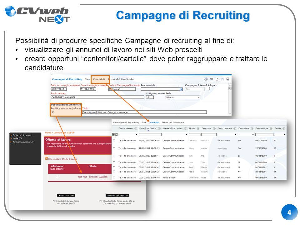 4 Campagne di RecruitingCampagne di Recruiting Possibilità di produrre specifiche Campagne di recruiting al fine di: visualizzare gli annunci di lavor