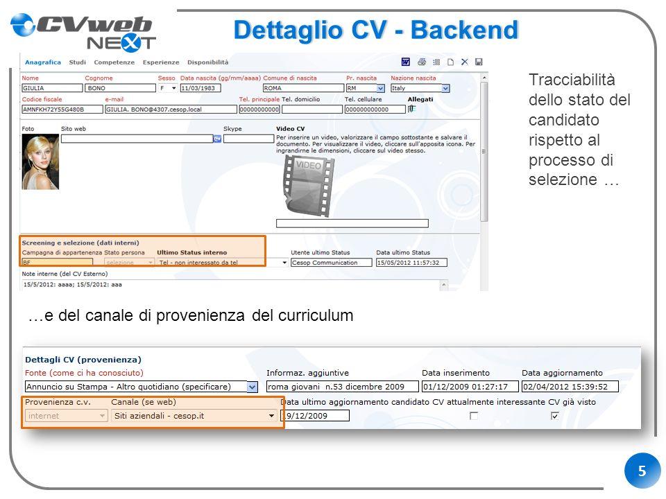 5 Dettaglio CV - BackendDettaglio CV - Backend Tracciabilità dello stato del candidato rispetto al processo di selezione … …e del canale di provenienz