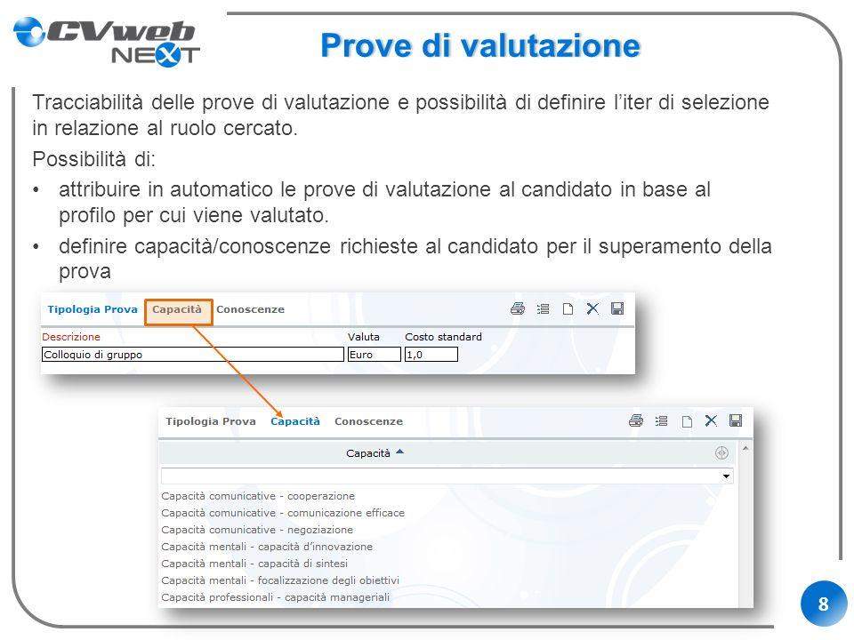 8 Prove di valutazioneProve di valutazione Tracciabilità delle prove di valutazione e possibilità di definire liter di selezione in relazione al ruolo
