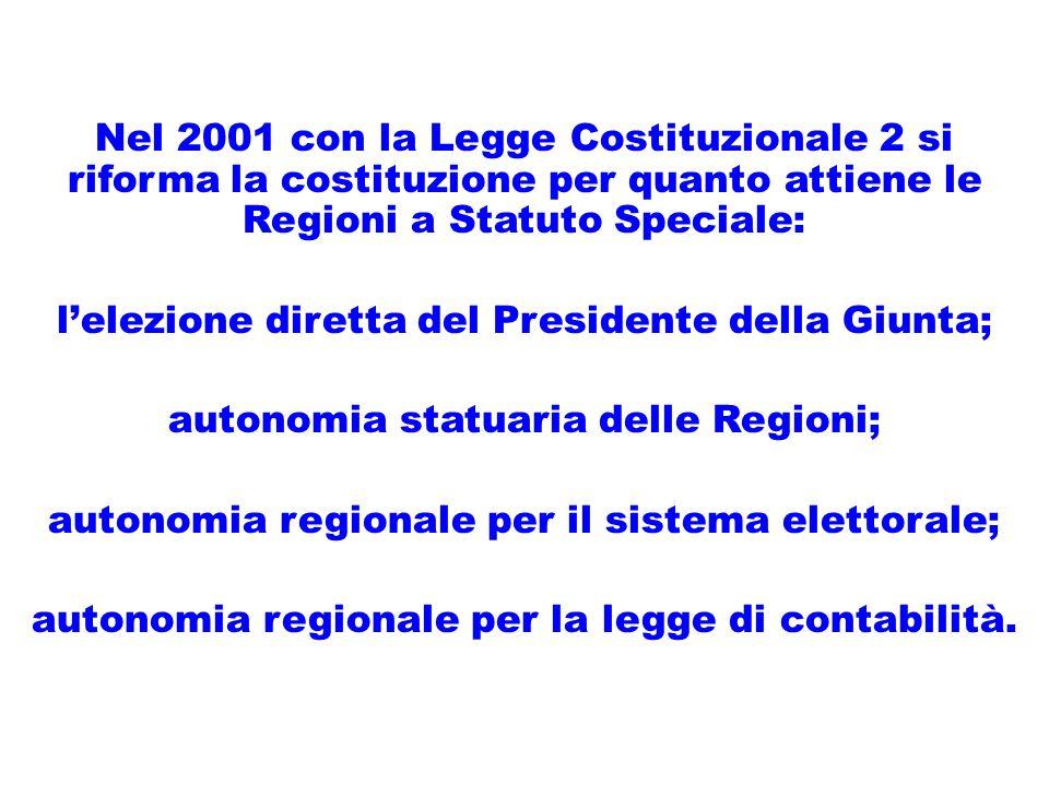 Nel 2001 con la Legge Costituzionale 2 si riforma la costituzione per quanto attiene le Regioni a Statuto Speciale: lelezione diretta del Presidente della Giunta; autonomia statuaria delle Regioni; autonomia regionale per il sistema elettorale; autonomia regionale per la legge di contabilità.