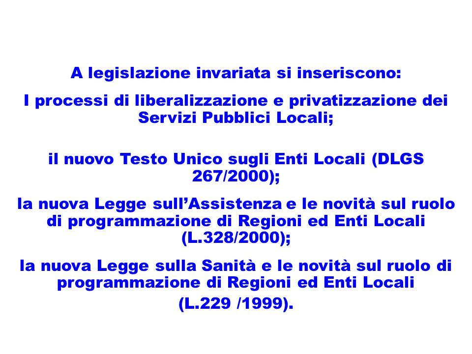 A legislazione invariata si inseriscono: I processi di liberalizzazione e privatizzazione dei Servizi Pubblici Locali; il nuovo Testo Unico sugli Enti Locali (DLGS 267/2000); la nuova Legge sullAssistenza e le novità sul ruolo di programmazione di Regioni ed Enti Locali (L.328/2000); la nuova Legge sulla Sanità e le novità sul ruolo di programmazione di Regioni ed Enti Locali (L.229 /1999).