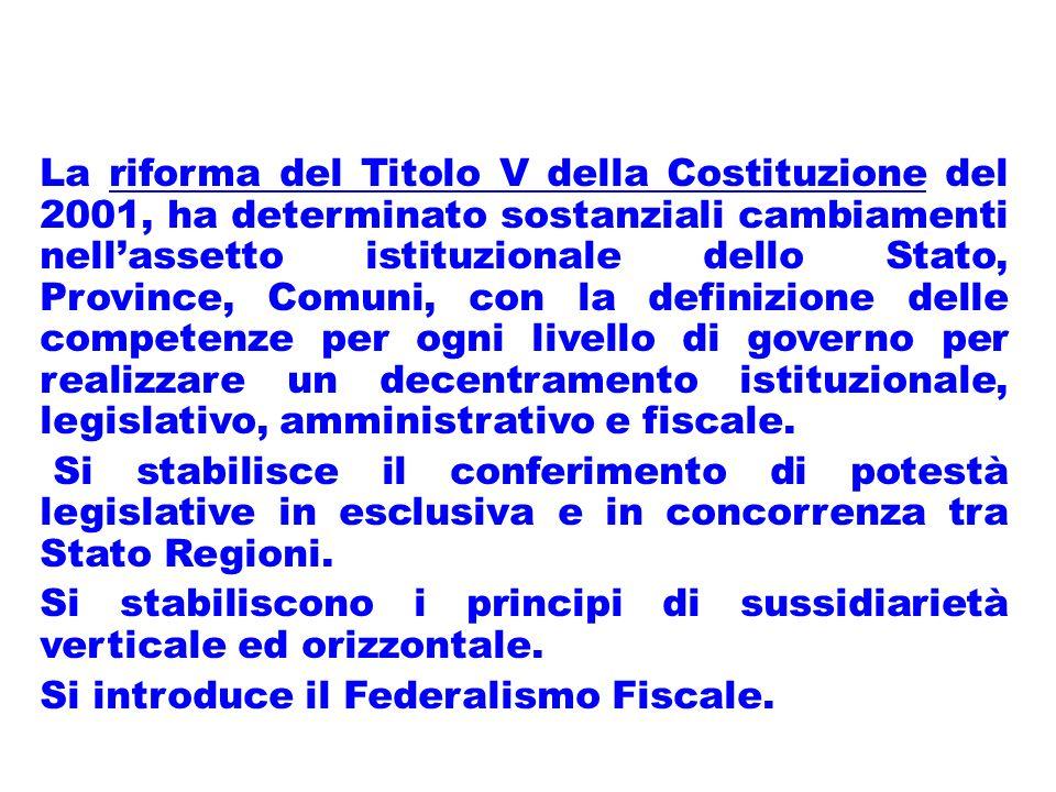 La riforma del Titolo V della Costituzione del 2001, ha determinato sostanziali cambiamenti nellassetto istituzionale dello Stato, Province, Comuni, con la definizione delle competenze per ogni livello di governo per realizzare un decentramento istituzionale, legislativo, amministrativo e fiscale.
