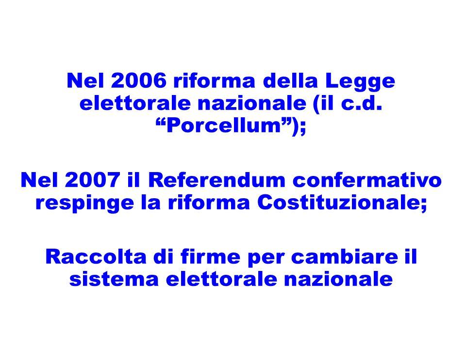 Nel 2006 riforma della Legge elettorale nazionale (il c.d.