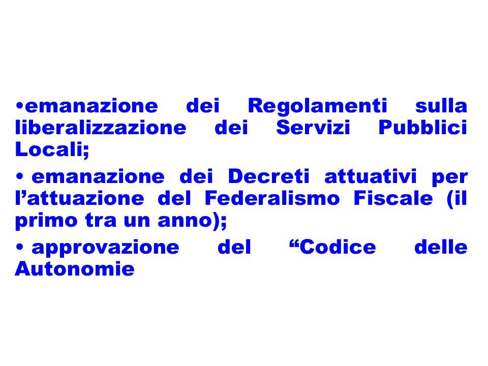 emanazione dei Regolamenti sulla liberalizzazione dei Servizi Pubblici Locali; emanazione dei Decreti attuativi per lattuazione del Federalismo Fiscale (il primo tra un anno); approvazione del Codice delle Autonomie