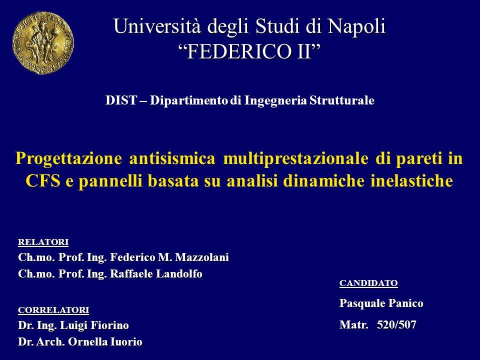 Università degli Studi di Napoli FEDERICO II DIST – Dipartimento di Ingegneria Strutturale CANDIDATO Pasquale Panico Matr. 520/507 RELATORI Ch.mo. Pro
