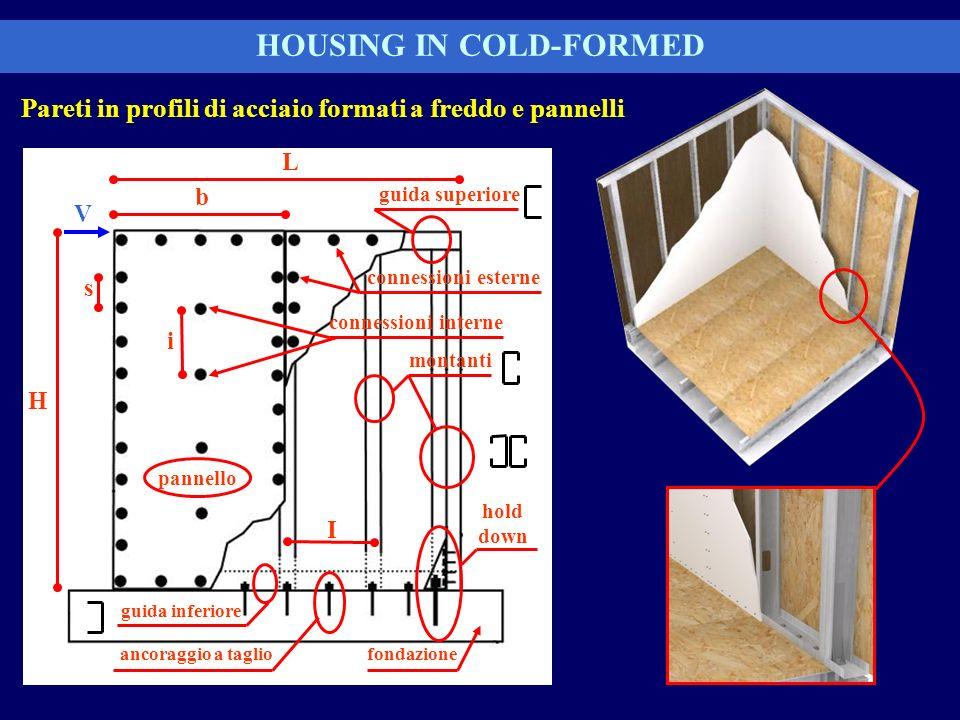 Pareti in profili di acciaio formati a freddo e pannelli HOUSING IN COLD-FORMED L H s I hold down ancoraggio a taglio montanti pannello i b guida supe