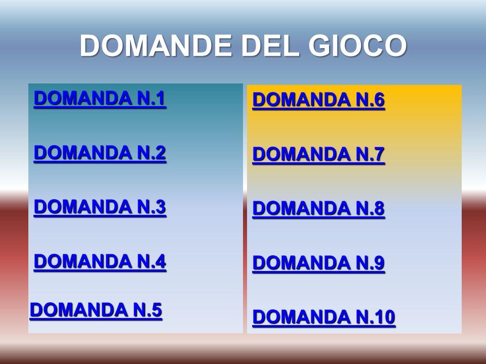 DOMANDE DEL GIOCO DOMANDA N.1 DOMANDA N.1 DOMANDA N.2 DOMANDA N.2 DOMANDA N.3 DOMANDA N.3 DOMANDA N.4 DOMANDA N.4 DOMANDA N.6 DOMANDA N.6 DOMANDA N.7