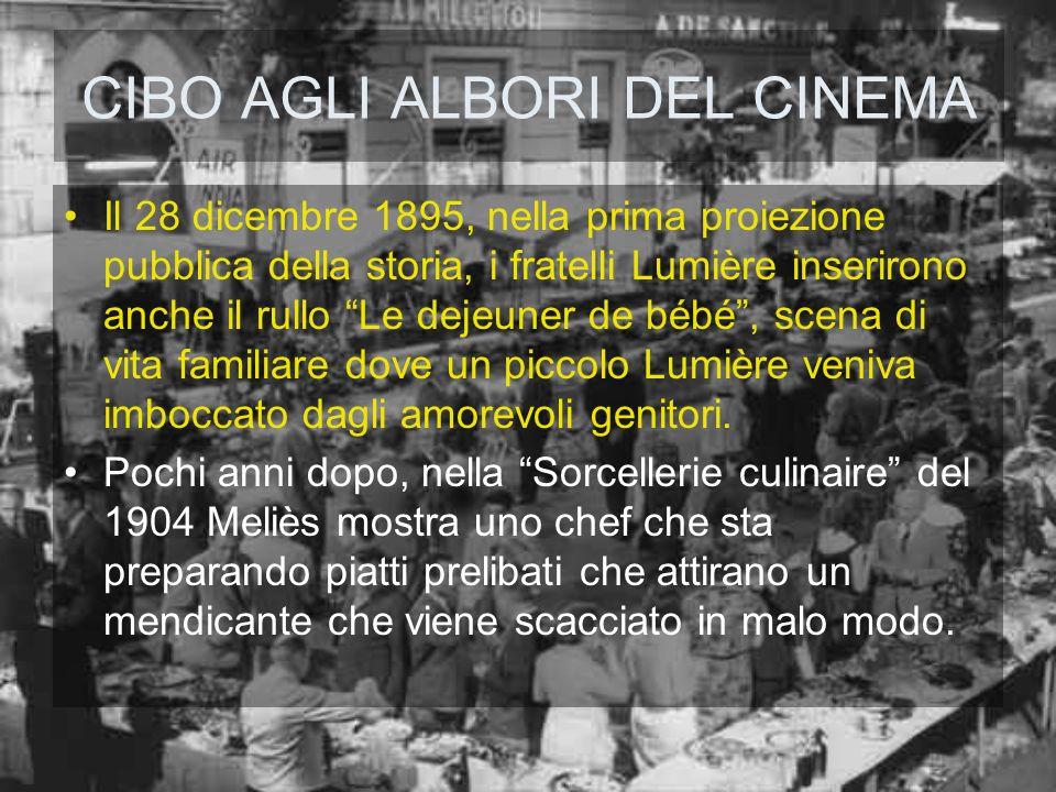 CIBO AGLI ALBORI DEL CINEMA Il 28 dicembre 1895, nella prima proiezione pubblica della storia, i fratelli Lumière inserirono anche il rullo Le dejeune