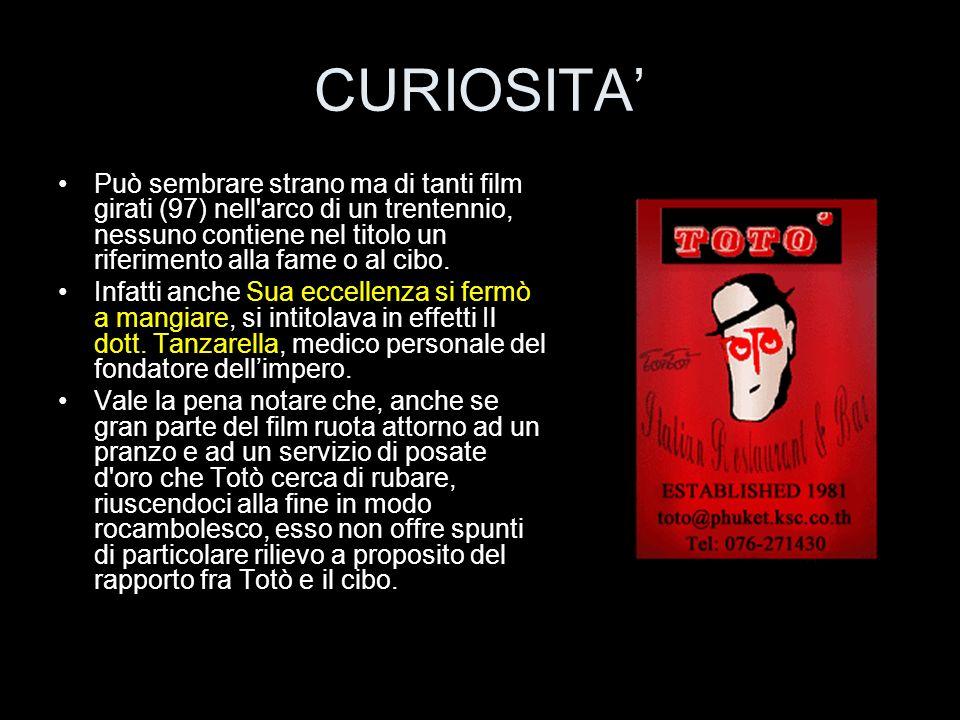CURIOSITA Può sembrare strano ma di tanti film girati (97) nell'arco di un trentennio, nessuno contiene nel titolo un riferimento alla fame o al cibo.