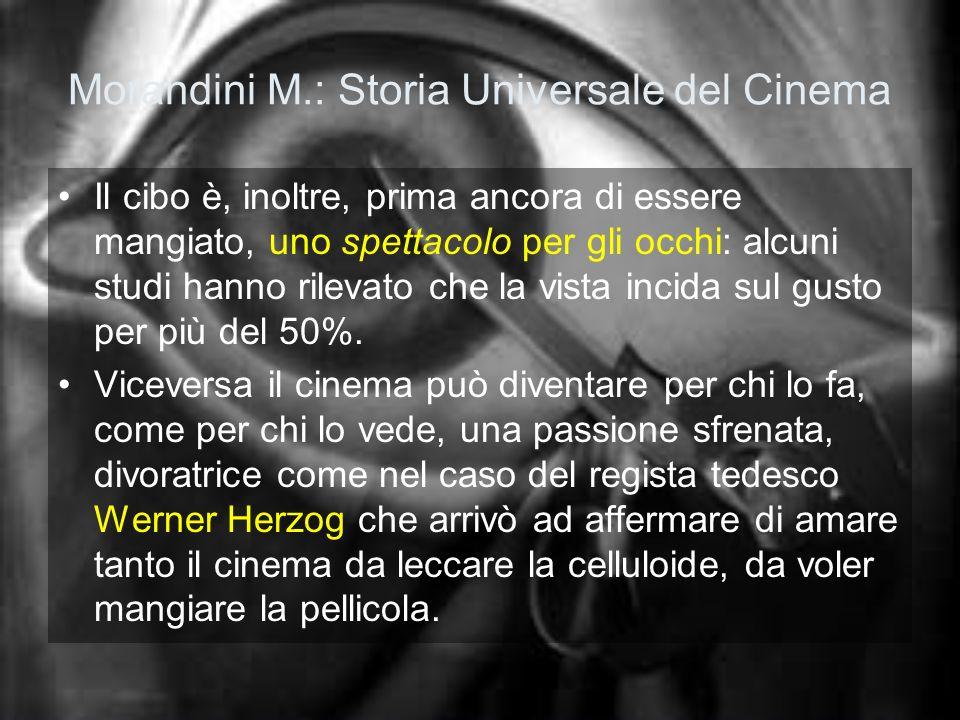 Morandini M.: Storia Universale del Cinema Il cibo è, inoltre, prima ancora di essere mangiato, uno spettacolo per gli occhi: alcuni studi hanno rilev