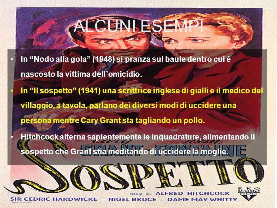 ALCUNI ESEMPI In Nodo alla gola (1948) si pranza sul baule dentro cui è nascosto la vittima dellomicidio. In Il sospetto (1941) una scrittrice inglese