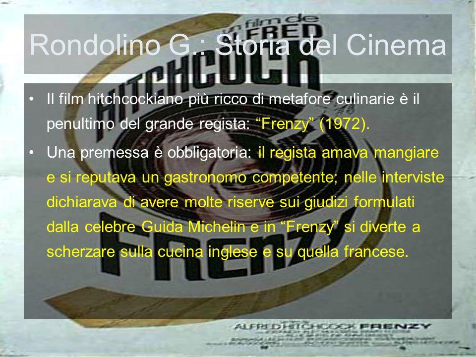 Rondolino G.: Storia del Cinema Il film hitchcockiano più ricco di metafore culinarie è il penultimo del grande regista: Frenzy (1972). Una premessa è